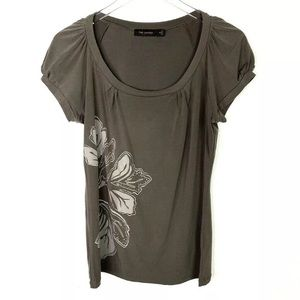 The Limited Flower Print Brown Top Size Medium